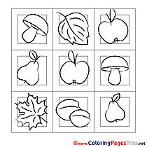 Mushrooms for Children free Coloring Pages