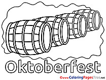 Oktoberfest Barrels for Kids printable Colouring Page