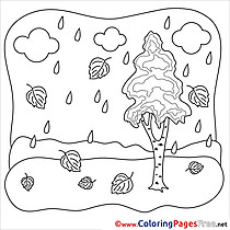 Rain Colouring Sheet download free