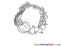 Vegetables download Colouring Sheet free