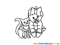 Cat Kids free Coloring Page