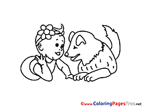 Dog for Kids printable Colouring Page
