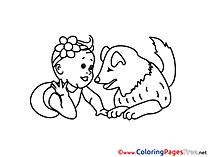 Dog for Kids printable Colouring Page