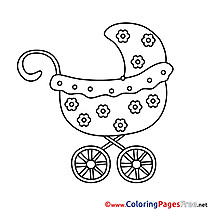 Flowers Pram for free Coloring Pages download