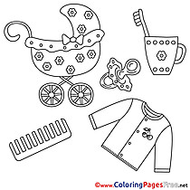 Flowers Pram Shirt Colouring Page printable free
