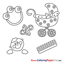Flowers Rattle Baby free printable Coloring Sheets