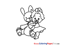 Hare for Kids printable Colouring Page