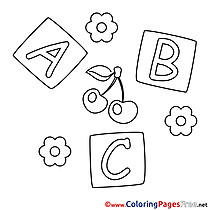 Letters Cubes free Colouring Page download