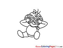 Orange download Colouring Sheet free