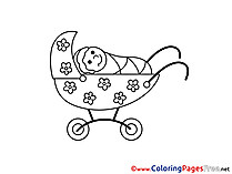 Pram for free Coloring Pages download