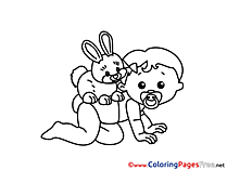 Rabbit Colouring Page printable free