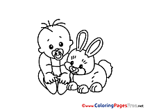 Rabbit for free Coloring Pages download