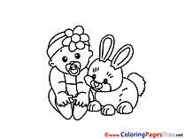Rabbit Kids free Coloring Page