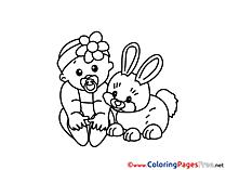 Rabbit Kids free Coloring Page