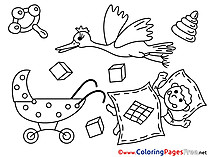 Rattle Stork Children download Colouring Page