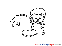 Shoe Children Coloring Pages free