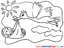Sun Stork Baby Children download Colouring Page