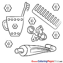 Toothpaste Toothbrush Kids free Coloring Page