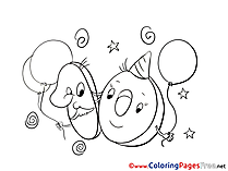 10 Years Balloons printable Coloring Pages Happy Birthday