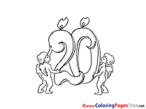 20 Years Angels free Colouring Page Happy Birthday