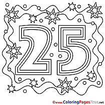 25 Years Colouring Page Happy Birthday free