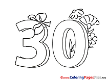 30 Years Flowers Kids Happy Birthday Coloring Page