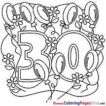 30 Years for Kids Happy Birthday Colouring Page