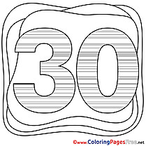 30 Years Happy Birthday free Coloring Pages