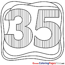 35 Years Children Happy Birthday Colouring Page