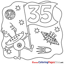 35 Years Space Colouring Page Happy Birthday free
