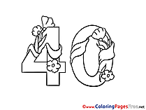 40 Years Flowers Happy Birthday Coloring Pages download