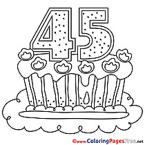 45 Years Cake Happy Birthday Colouring Sheet free
