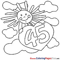 45 Years Sun printable Coloring Pages Happy Birthday