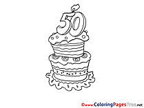 50 Years Cake Colouring Page Happy Birthday free