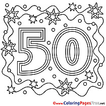 50 Years Children Happy Birthday Colouring Page