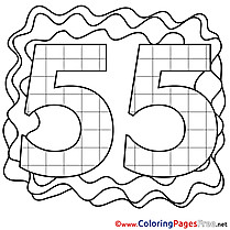 55 Years Happy Birthday Coloring Pages free
