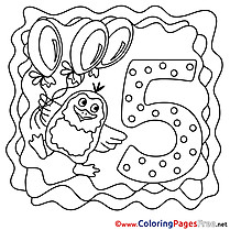 5 Years Kids Happy Birthday Coloring Pages