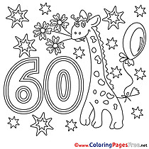 60 Years printable Happy Birthday Coloring Sheets