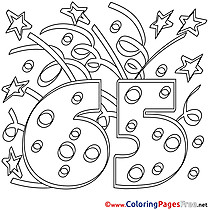 65 Years Coloring Pages Happy Birthday for free