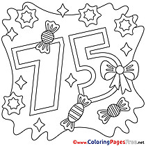 75 Years free Colouring Page Happy Birthday