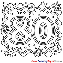 80 Years Coloring Sheets Happy Birthday free