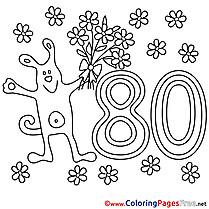 80 Years Dog free Colouring Page Happy Birthday