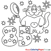 85 Years Cat Kids Happy Birthday Coloring Pages