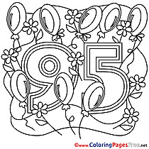 95 Years Colouring Sheet download Happy Birthday