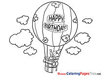 Air Balloon free Happy Birthday Coloring Sheets