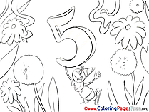 Ant 5 Years Colouring Page Happy Birthday free