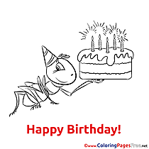 Ant Cake Happy Birthday Colouring Sheet free