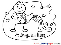 Aquarius free Happy Birthday Coloring Sheets