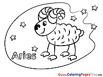 Aries Happy Birthday Coloring Pages free