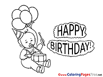 Baby Kids Happy Birthday Coloring Pages